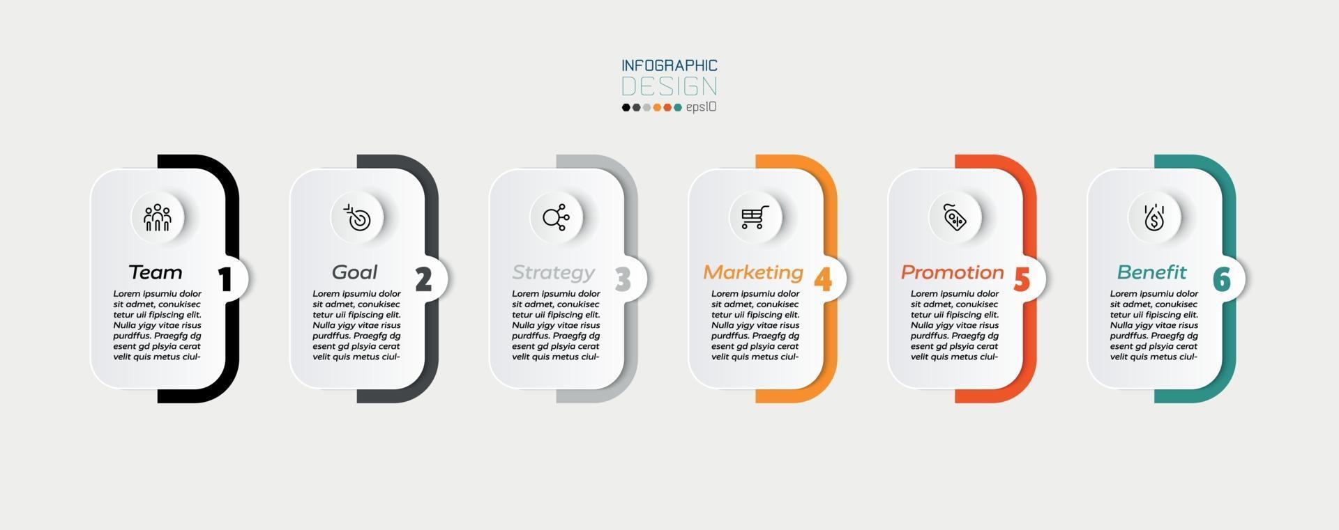 quadrati e barre colorate, 6 passaggi per presentare o pianificare un flusso di lavoro in un'azienda o altro lavoro. progettazione infografica. vettore