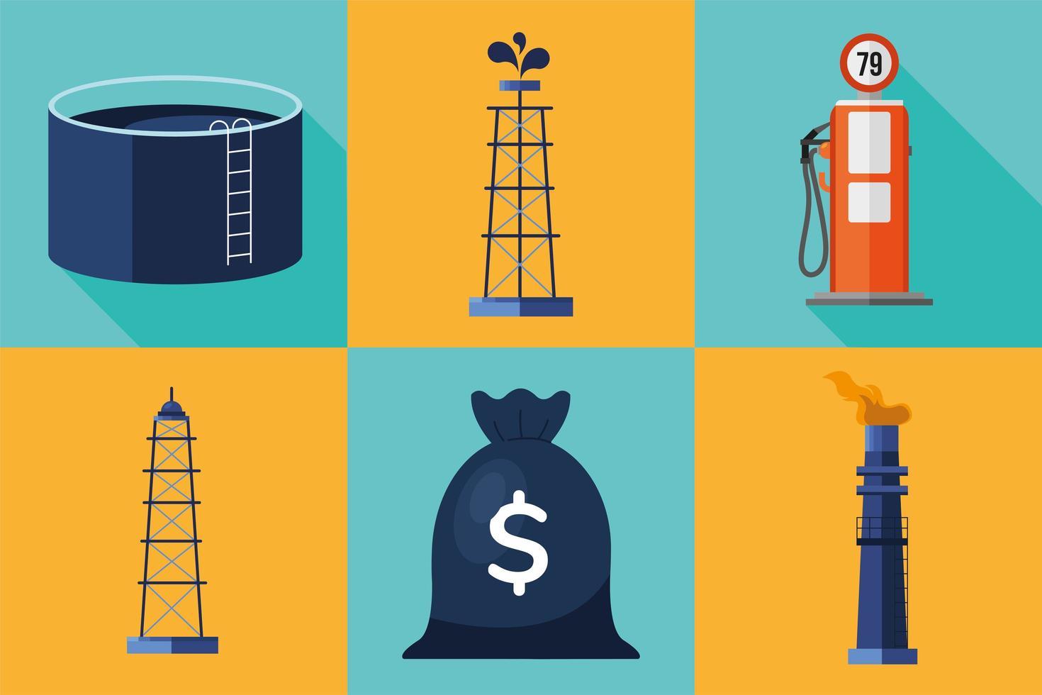 pacchetto di set di icone di prezzo del petrolio vettore