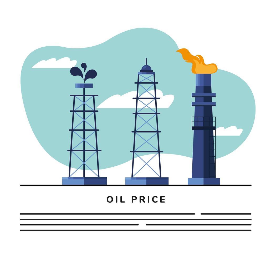 torri e modello di banner petrolio raffineria camino vettore