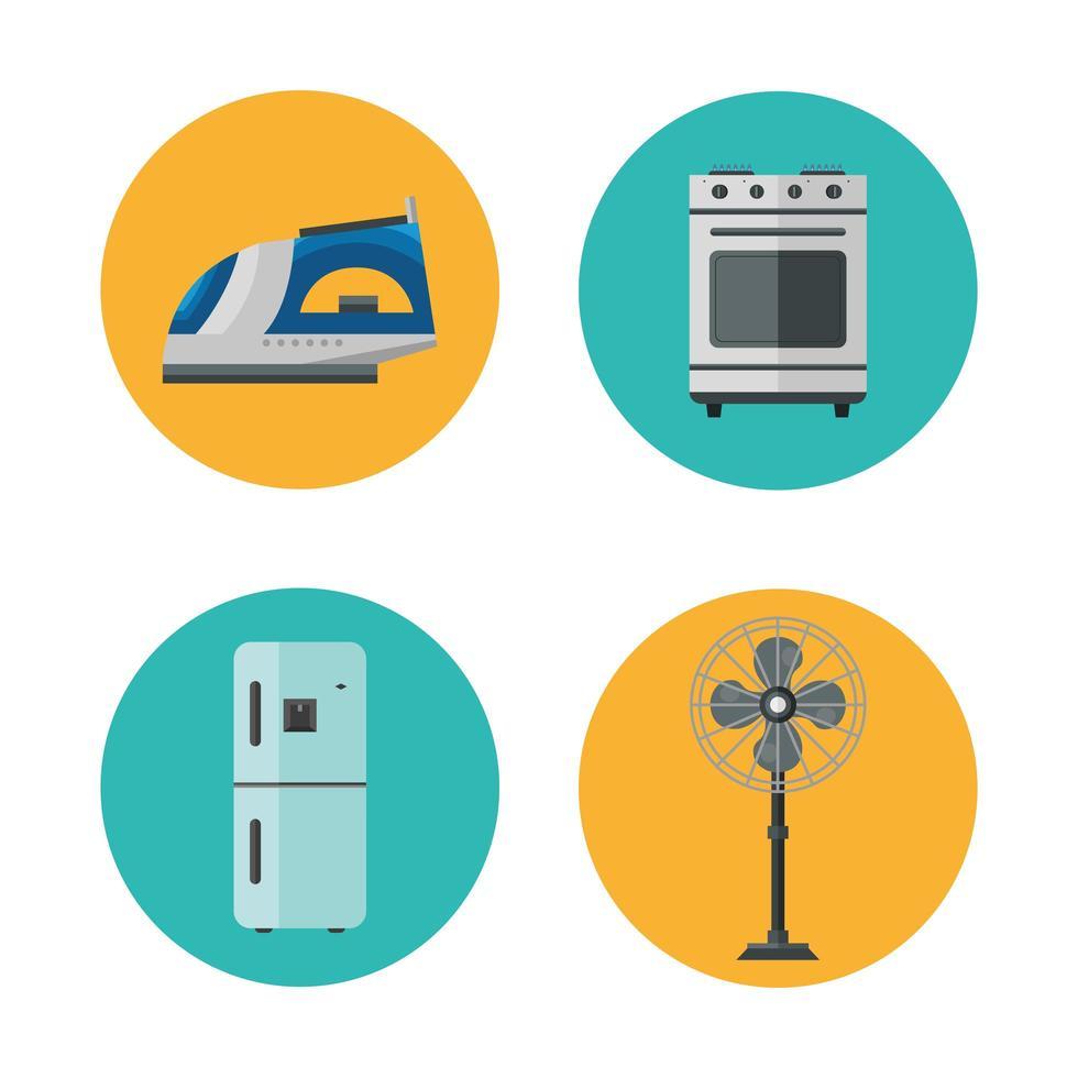 set di icone di stile piatto di elettrodomestici vettore