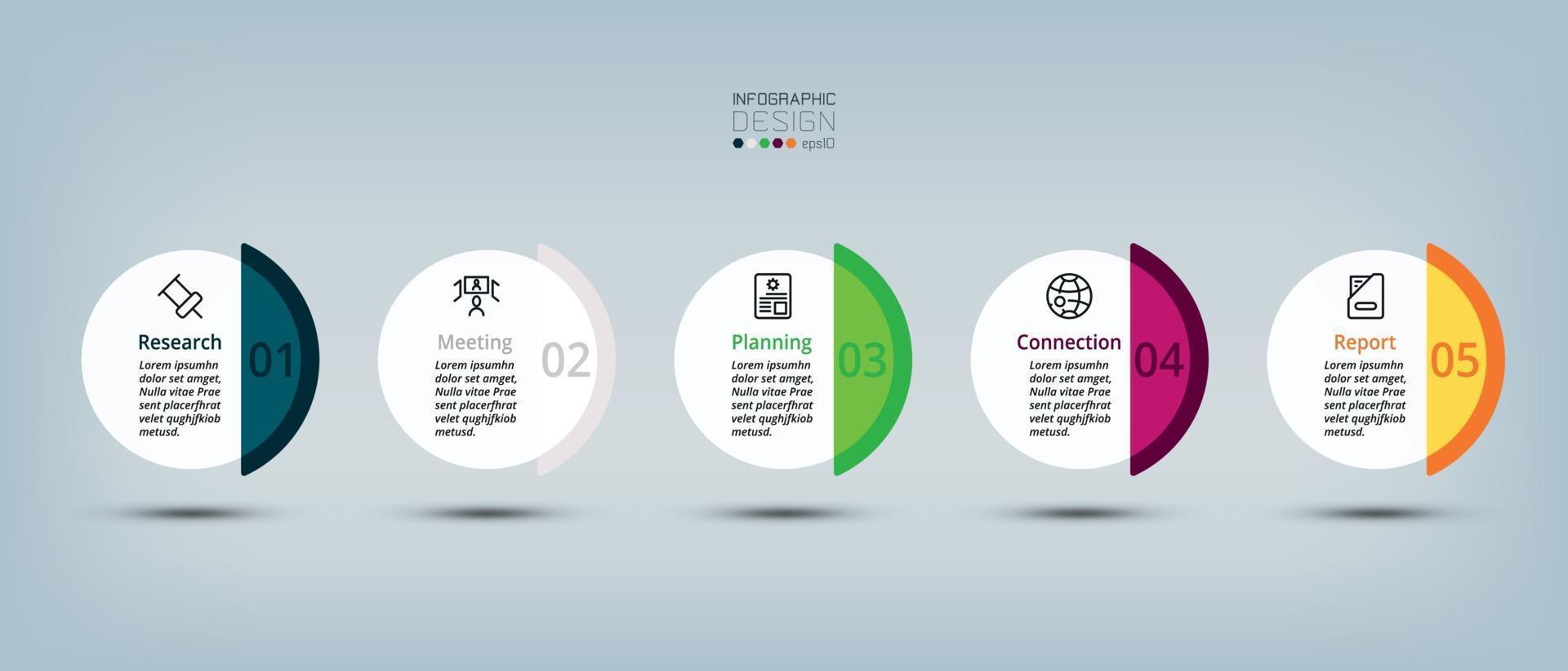 il cerchio a 5 gradini con un'ampia gamma di colori può essere utilizzato per molteplici attività come mezzi pubblicitari, progettazione e pianificazione aziendale. vettore infografica.