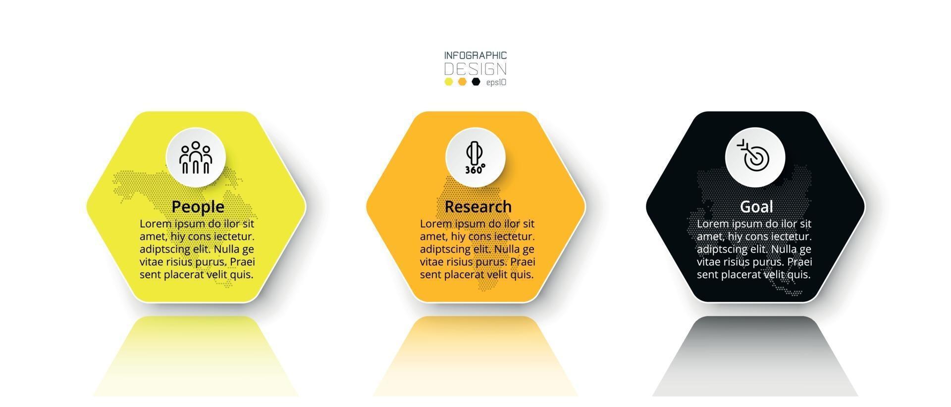 idee di pianificazione aziendale, marketing e istruzione presentate attraverso esagoni progettati da vettori. progettazione infografica. vettore