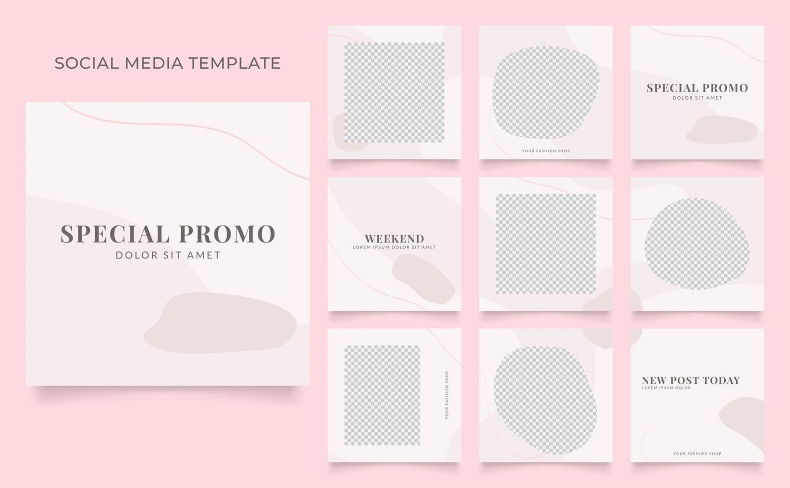 promozione di vendita di moda di blog di banner modello di social media. poster di vendita organica di puzzle con cornice quadrata completamente modificabile. sfondo vettoriale rosa rosso bianco