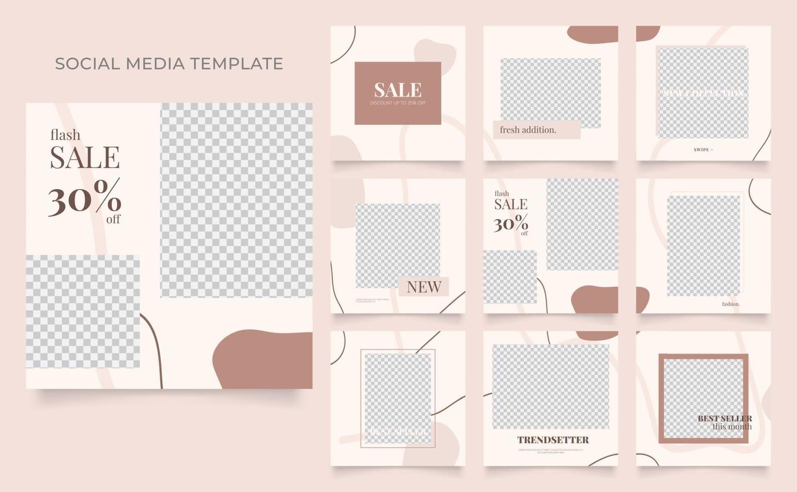 promozione di vendita di moda di blog di banner modello di social media. poster di vendita organica di puzzle con cornice quadrata completamente modificabile. sfondo vettoriale marrone rosso beige