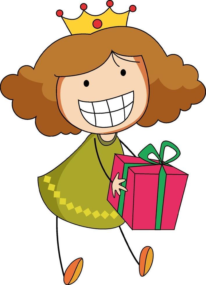 un ragazzino di doodle che tiene un personaggio dei cartoni animati di scatola regalo isolato vettore