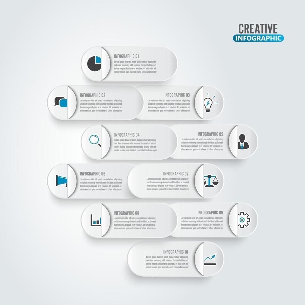 visualizzazione dei dati aziendali. diagramma cartaceo di processo. elementi astratti del grafico, diagramma con 10 passaggi, opzioni, parti o processi. modello di business vettoriale per la presentazione. concetto creativo per infografica.