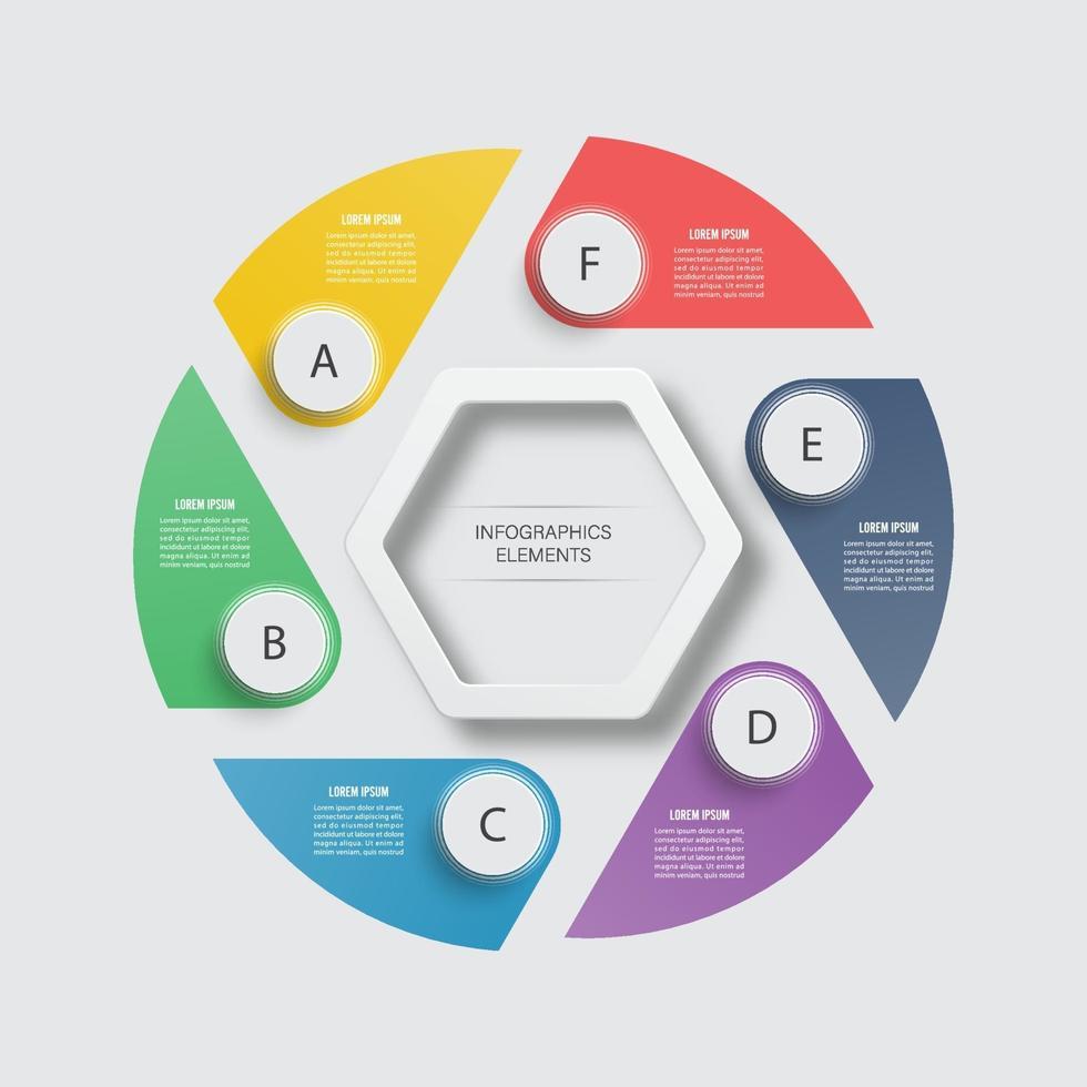 modello di progettazione infografica vettoriale. concetto di business con 6 opzioni, parti, passaggi o processi. può essere utilizzato per il layout del flusso di lavoro, diagramma, opzioni di numero, web design. visualizzazione dati. vettore