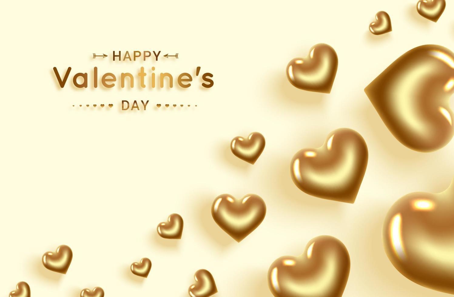 buon San Valentino. banner di cuori d'oro con posto per il testo. vettore