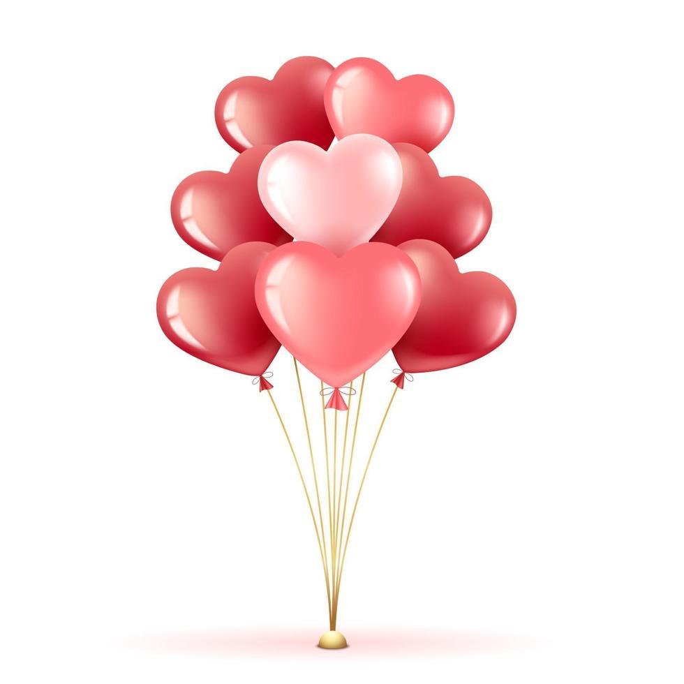 mazzo di palloncini cuore vettore