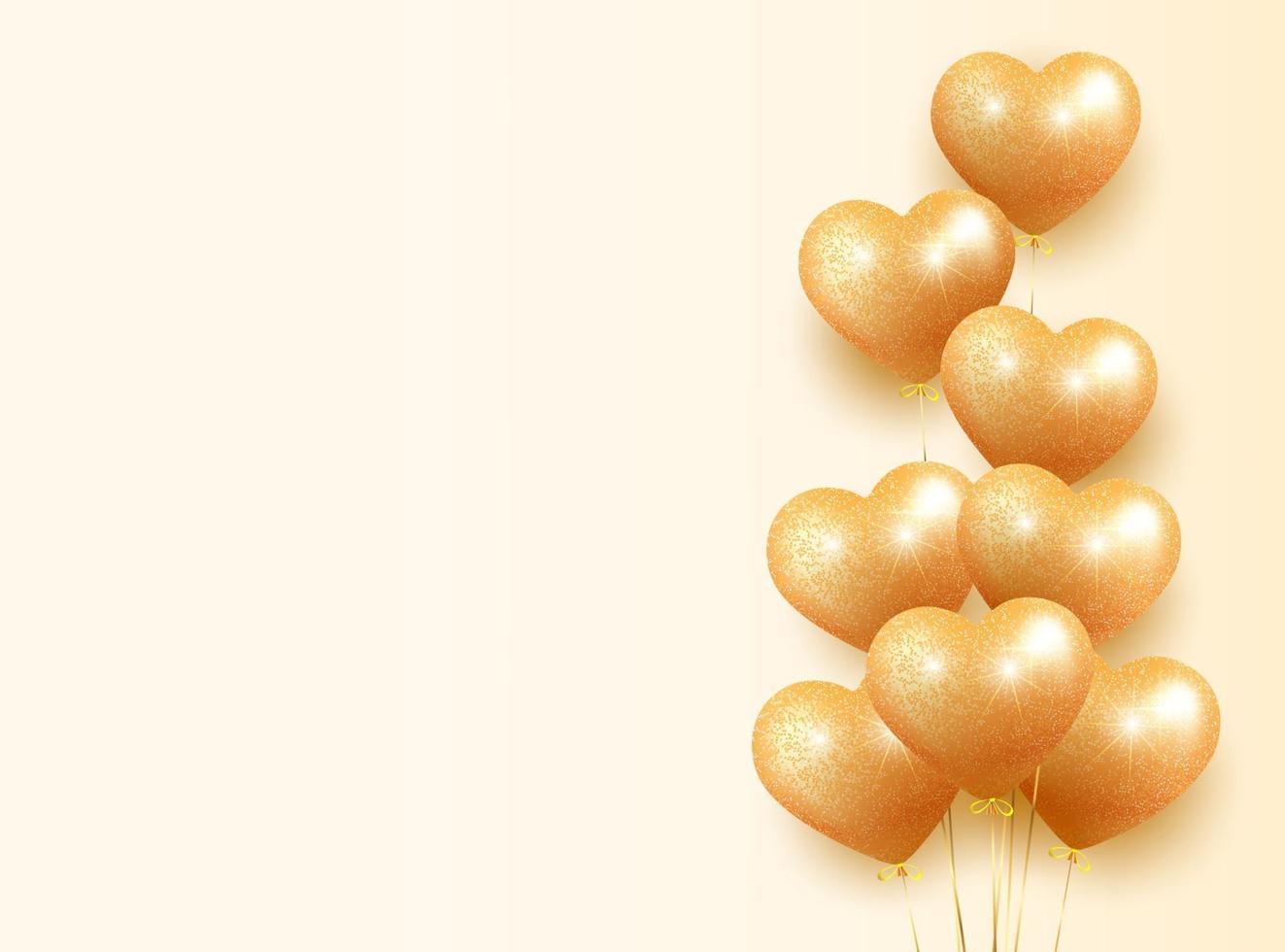 banner di palloncini glitter dorati vettore