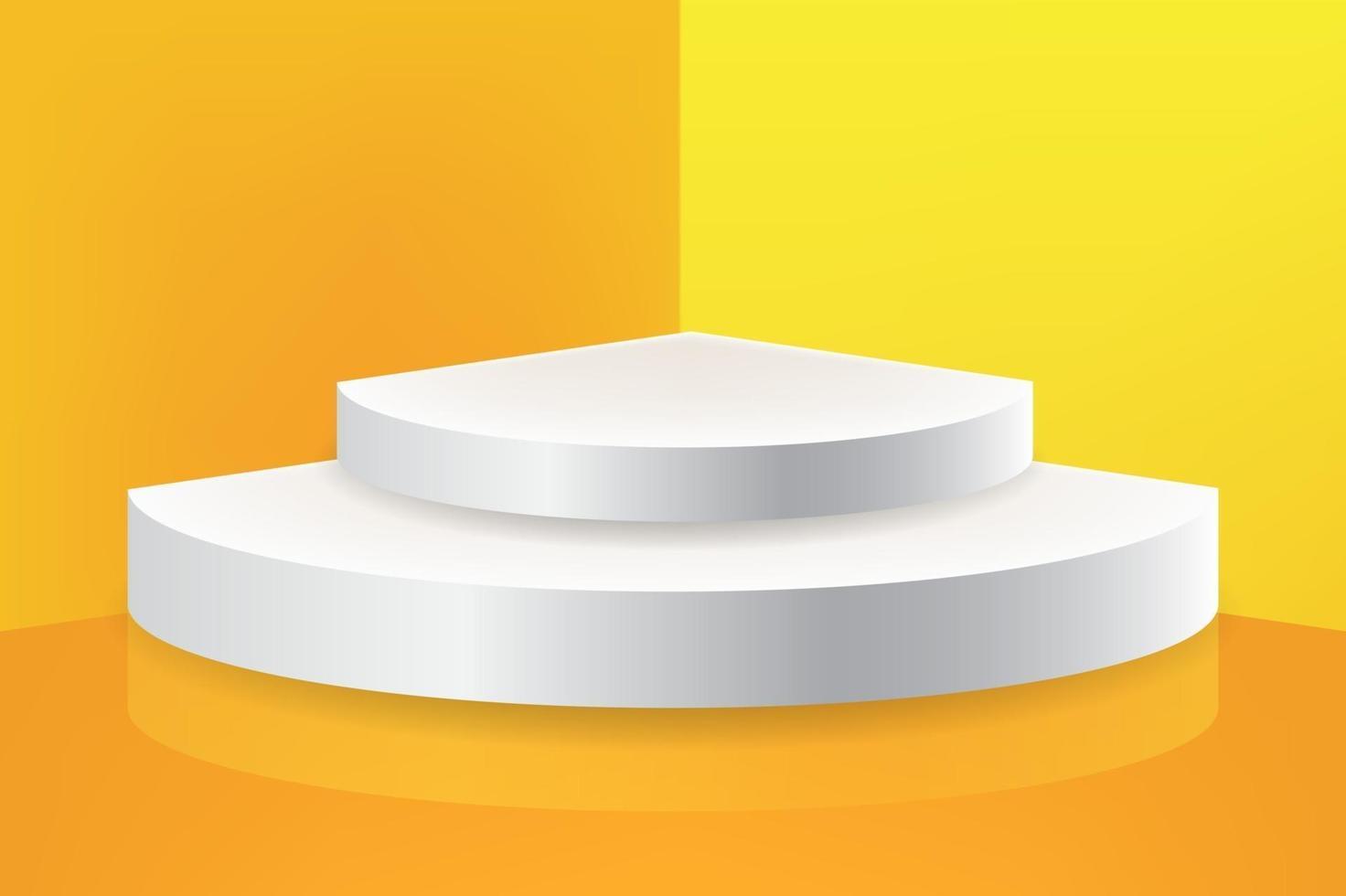 podio per l'esposizione del prodotto nell'angolo del muro giallo vettore