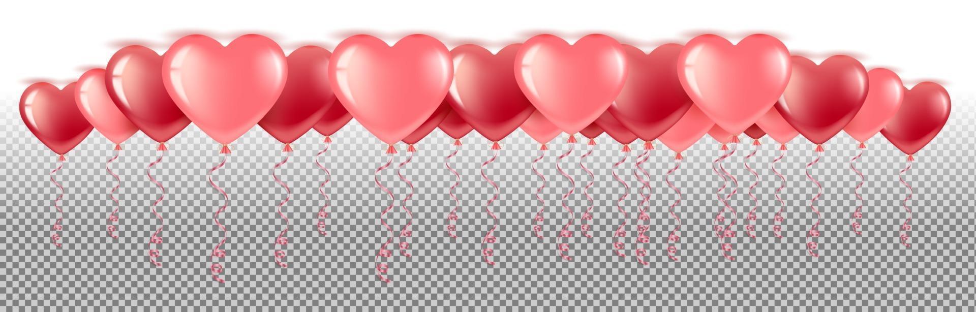 vettore di palloncini cuore molti