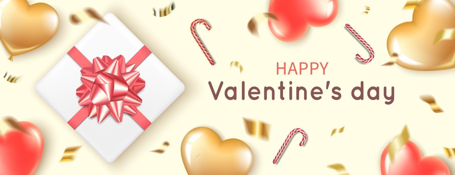 banner con palloncini cuore, regalo e bastoncini di zucchero per San Valentino vettore