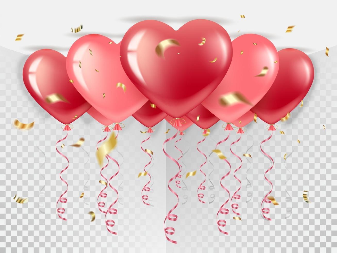 palloncini a forma di cuore sul soffitto vettore