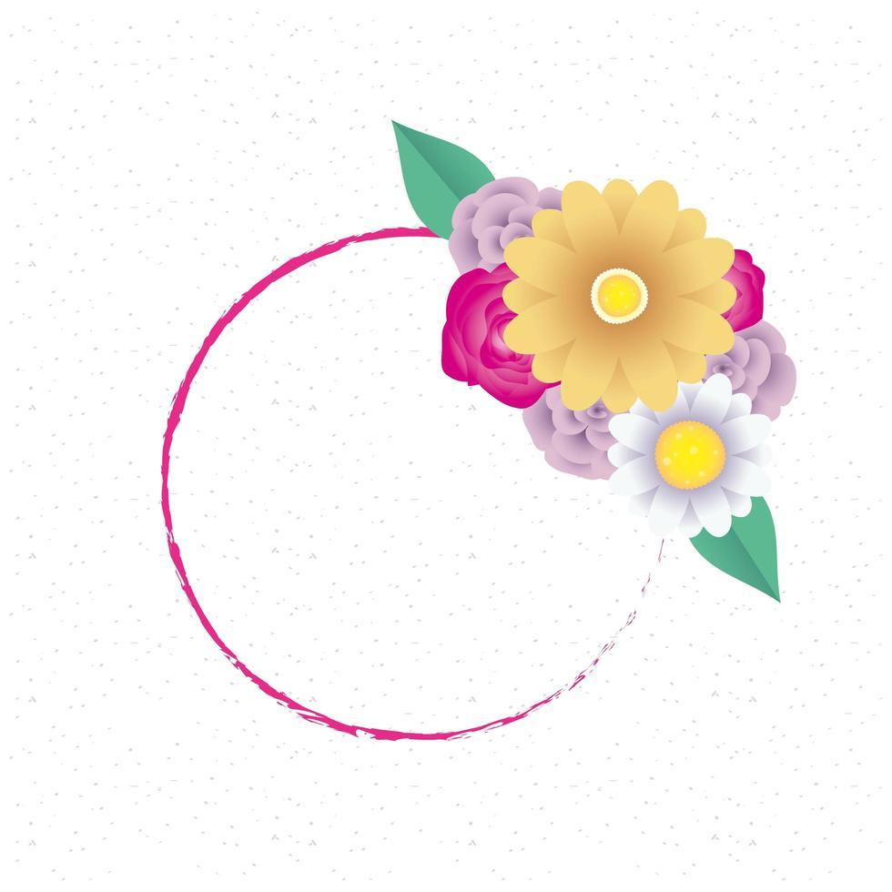 modello di carta decorativa floreale con cornice circolare vettore