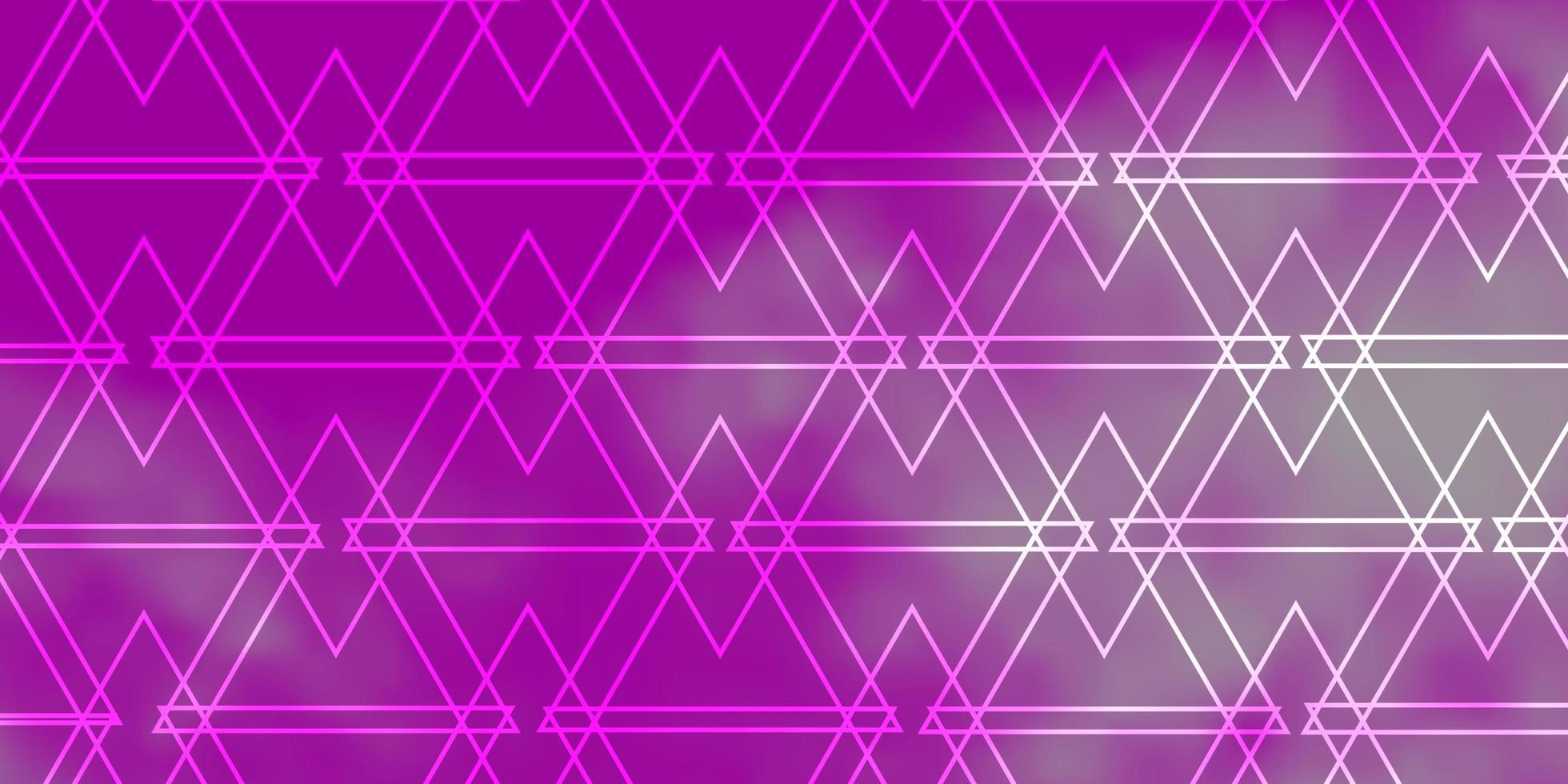 modello vettoriale viola chiaro, rosa con linee, triangoli.