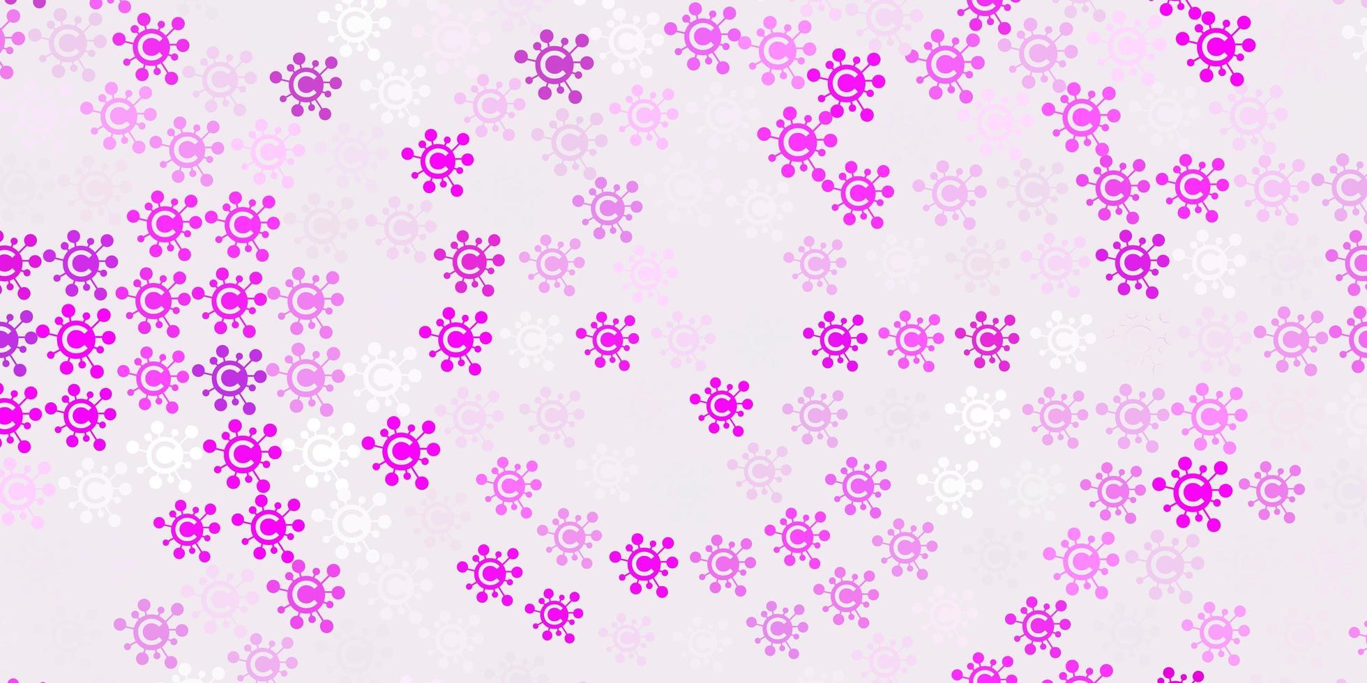 modello vettoriale viola chiaro, rosa con elementi di coronavirus.