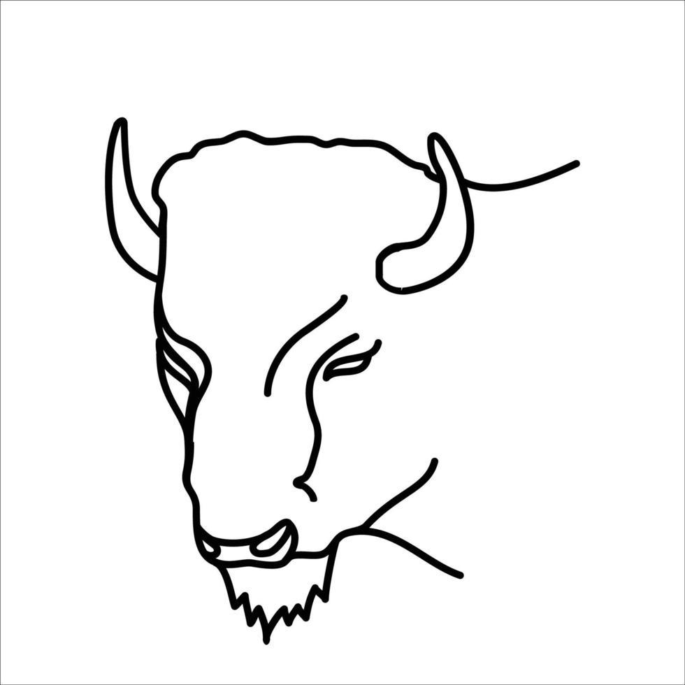 disegno dell'icona di bisonte animale. vettore, clip art, illustrazione, stile di design icona linea. vettore