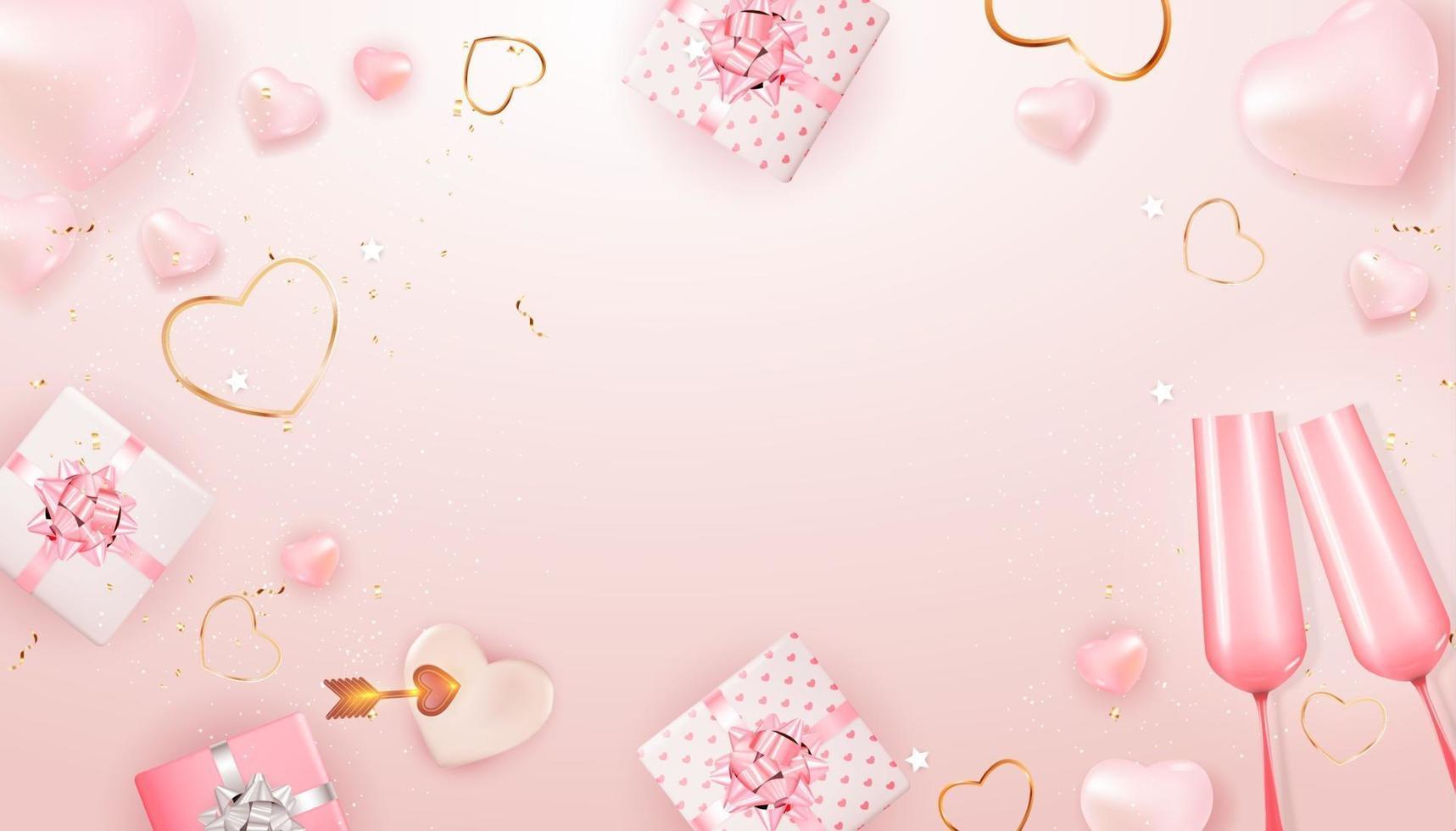 copia spazio San Valentino vacanza regalo carta modello sfondo rosa vettore