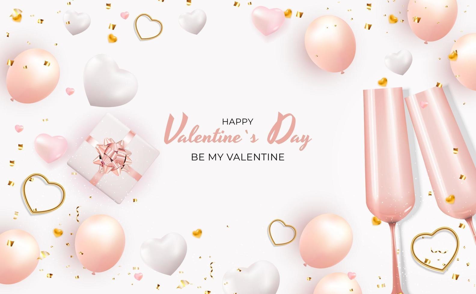 carta regalo vacanza di San Valentino con testo su sfondo bianco vettore