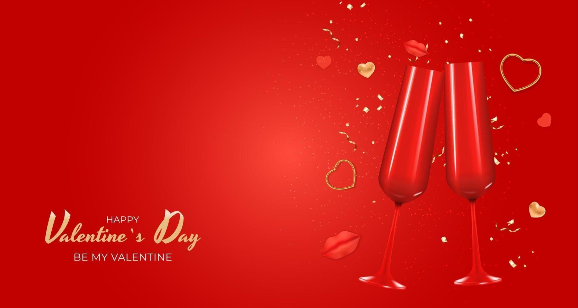 progettazione realistica del fondo della carta del regalo di festa di San Valentino. vettore