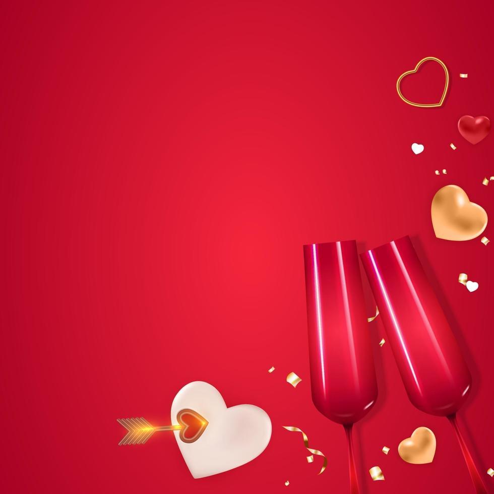 modello quadrato dello spazio della copia della carta regalo di festa di San Valentino vettore
