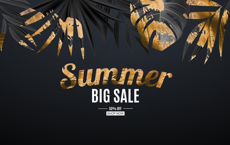sfondo tropicale naturale realistico nero e foglia di palma oro. concetto di vendita estiva. illustrazione vettoriale