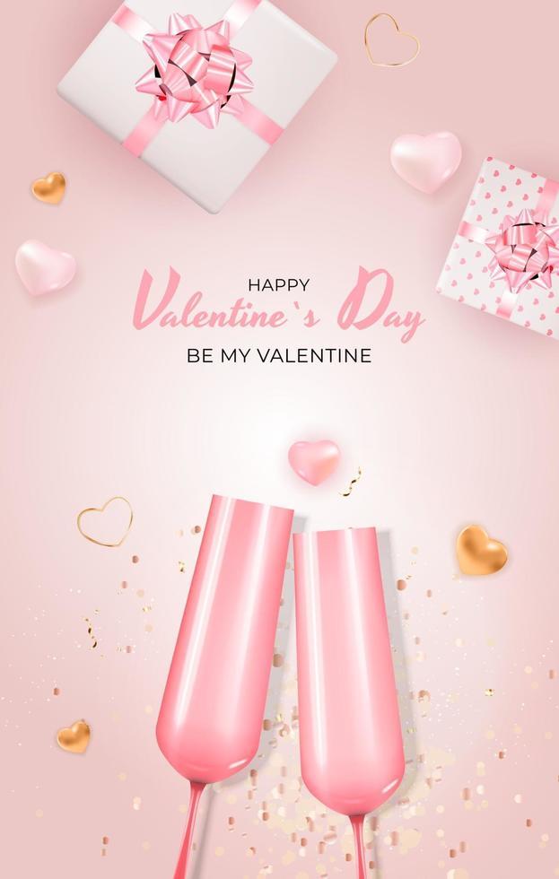fondo rosa del modello della carta del regalo di festa di San Valentino con testo vettore