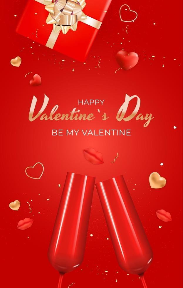 poster di regalo di festa di San Valentino sul colore rosso vettore