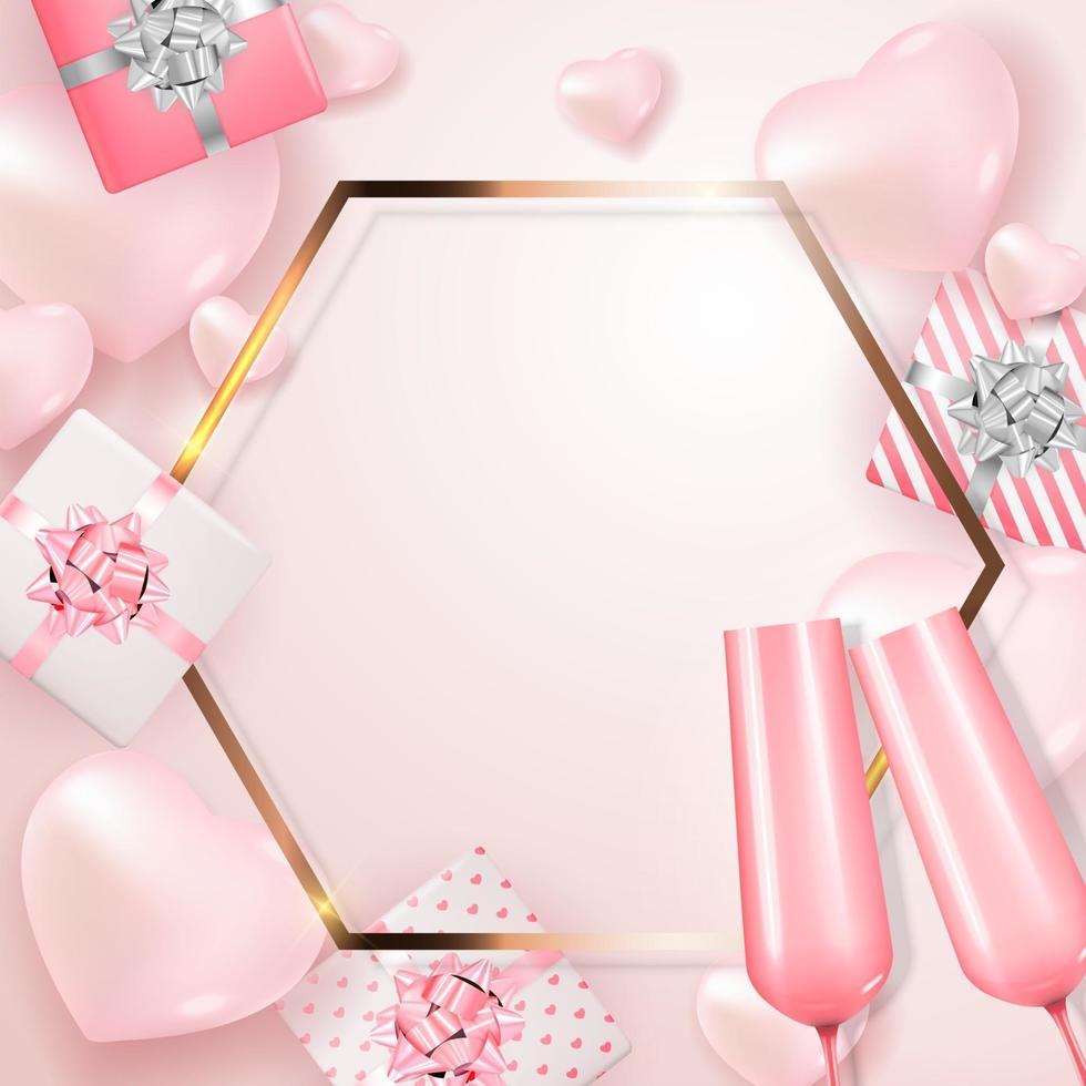 carta regalo per le vacanze di San Valentino con ornamento e cornice realistici 3d vettore
