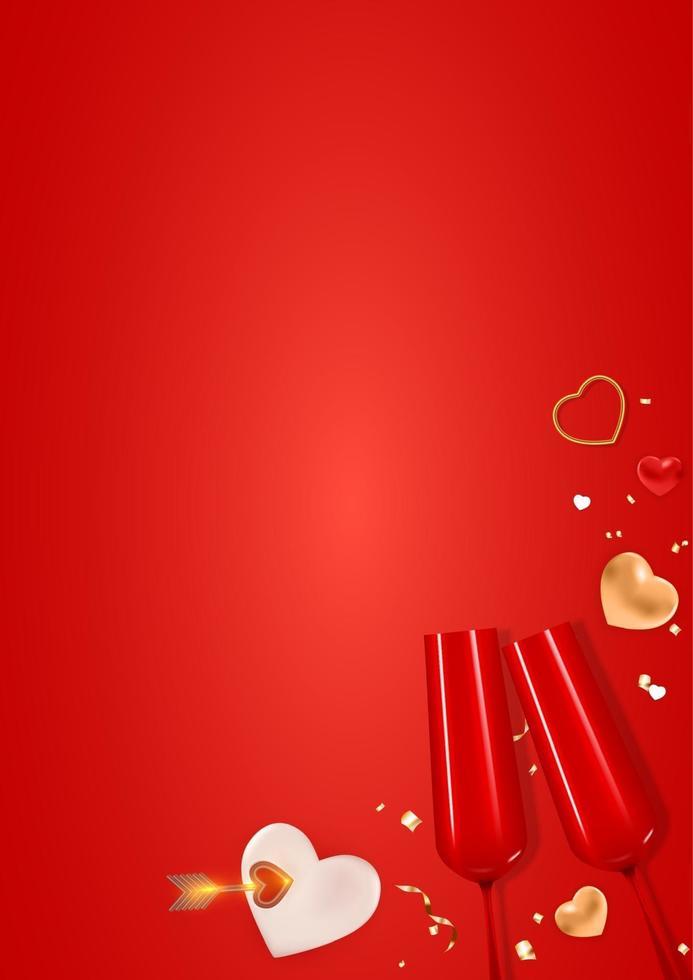 copia spazio San Valentino vacanza regalo carta sfondo disegno realistico. vettore