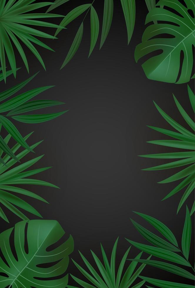 sfondo tropicale naturale realistico foglia di palma verde e oro. illustrazione vettoriale
