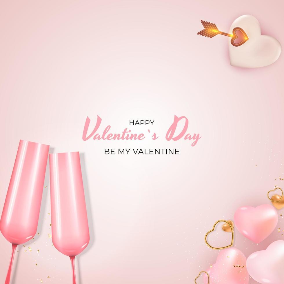 progettazione realistica del fondo della carta del regalo di festa di San Valentino vettore