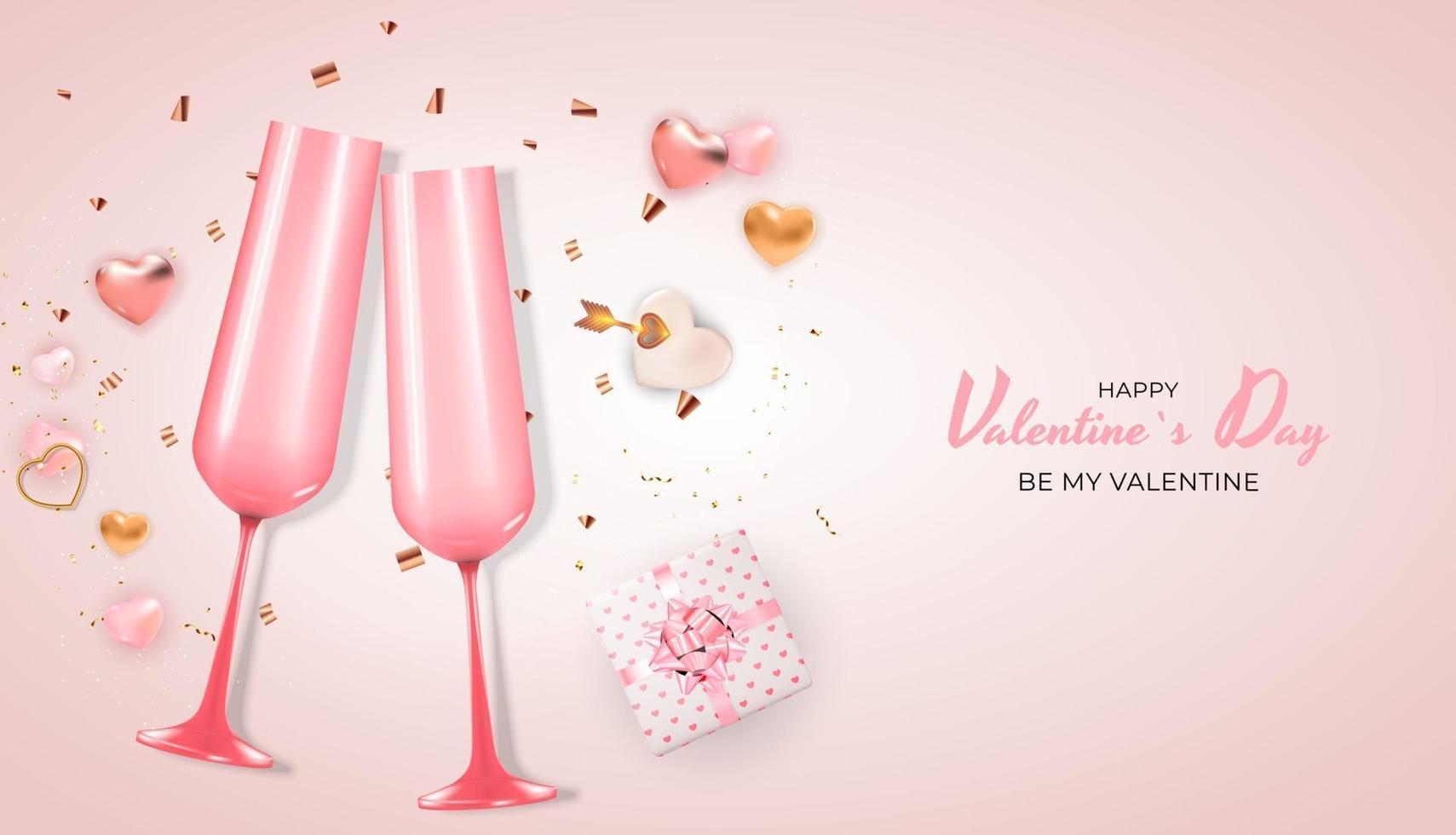 progettazione realistica del fondo della carta del regalo di festa di San Valentino. modello per pubblicità, web, social media e annunci di moda. poster, flyer, biglietto di auguri, intestazione per illustrazione vettoriale sito Web