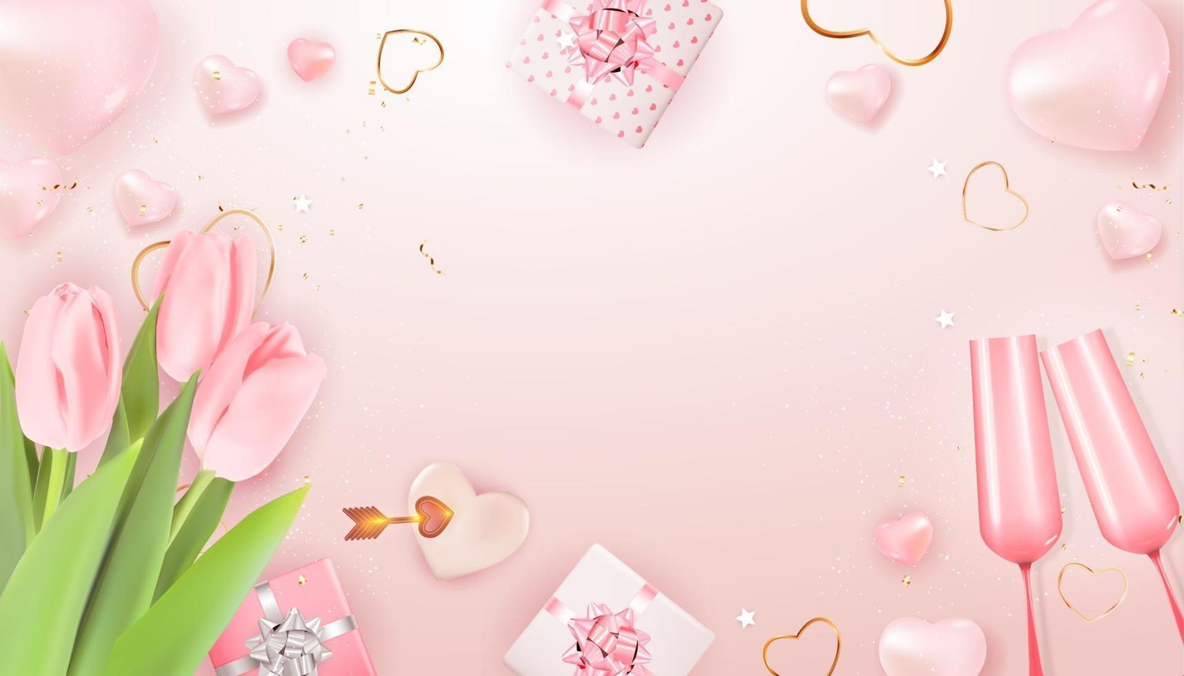 modello di spazio copia carta regalo vacanza di San Valentino su sfondo rosa vettore