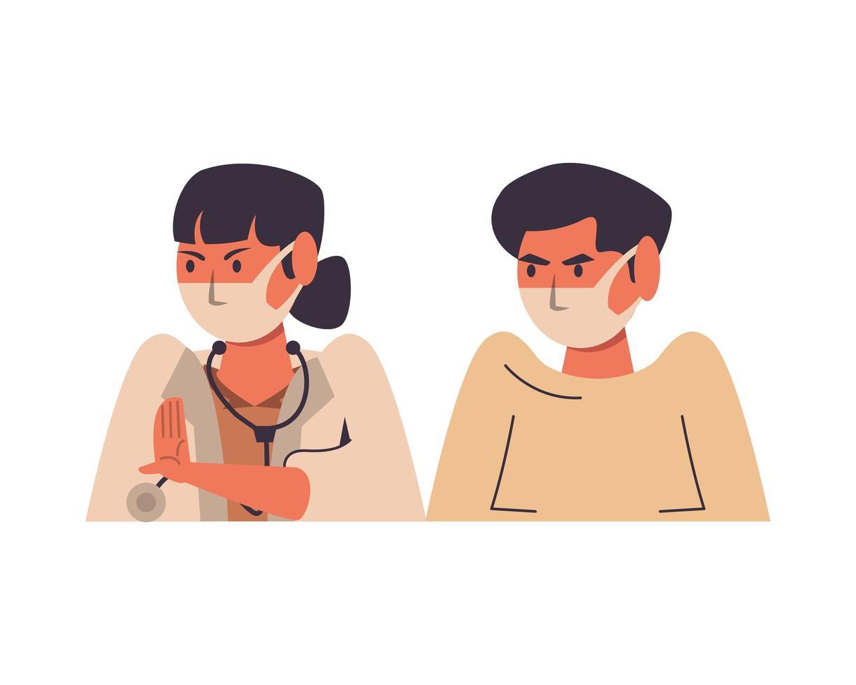 dottoressa con paziente maschio utilizzando maschere facciali vettore