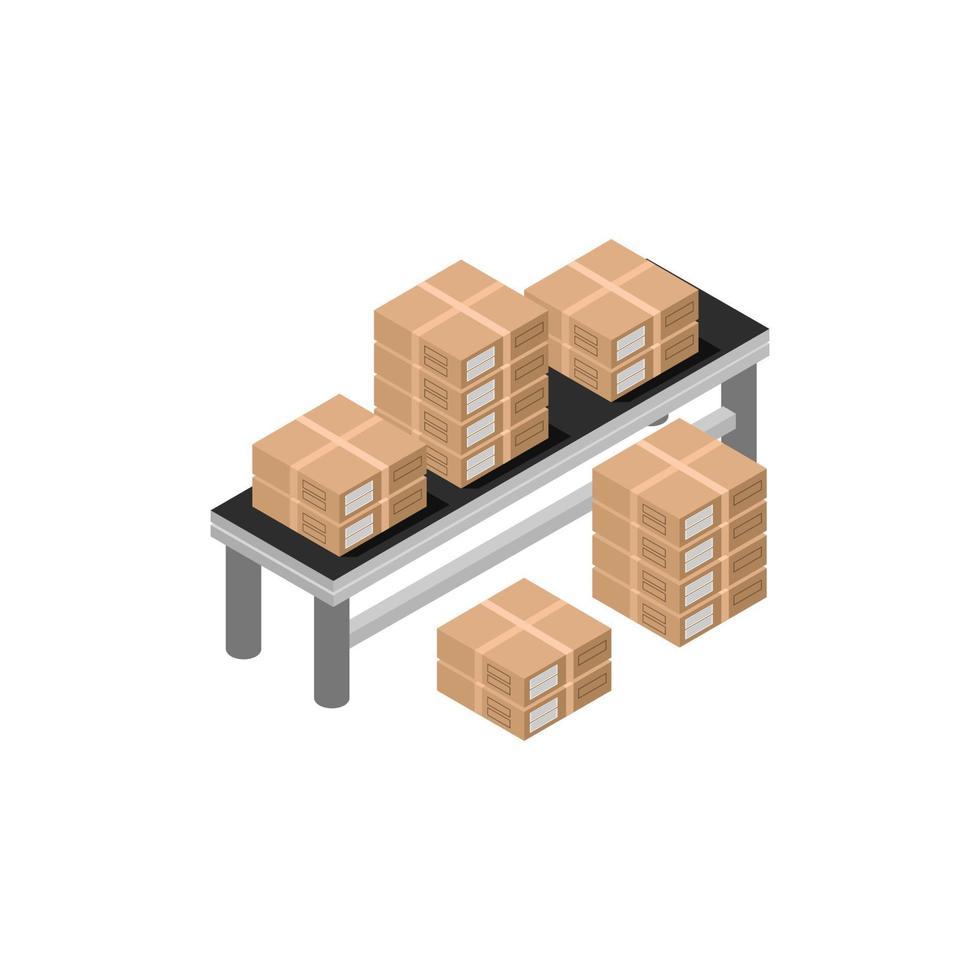 trasportatore di scatole isometriche su sfondo bianco vettore