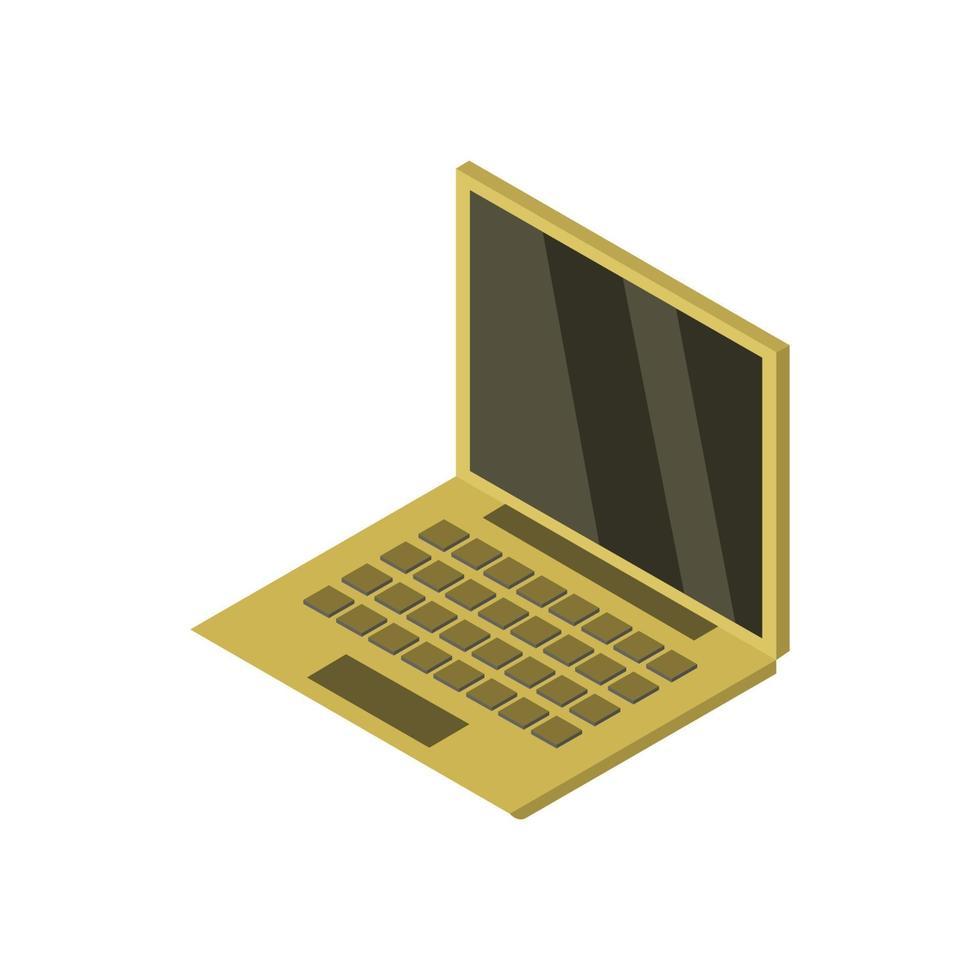 portatile isometrico illustrato su sfondo bianco vettore