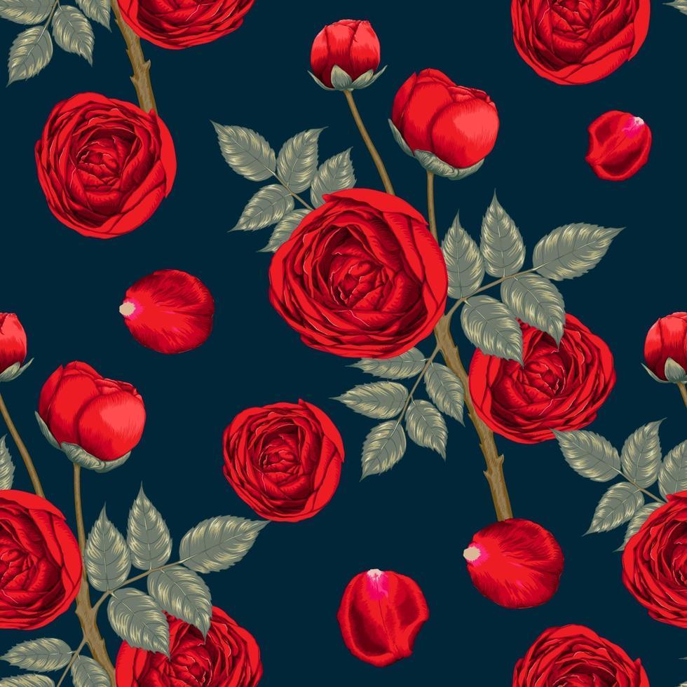 modello senza cuciture bei fiori della rosa rossa su fondo astratto blu scuro. illustrazione vettoriale mano acquerello secco disegno linea stile arte. per il design del tessuto