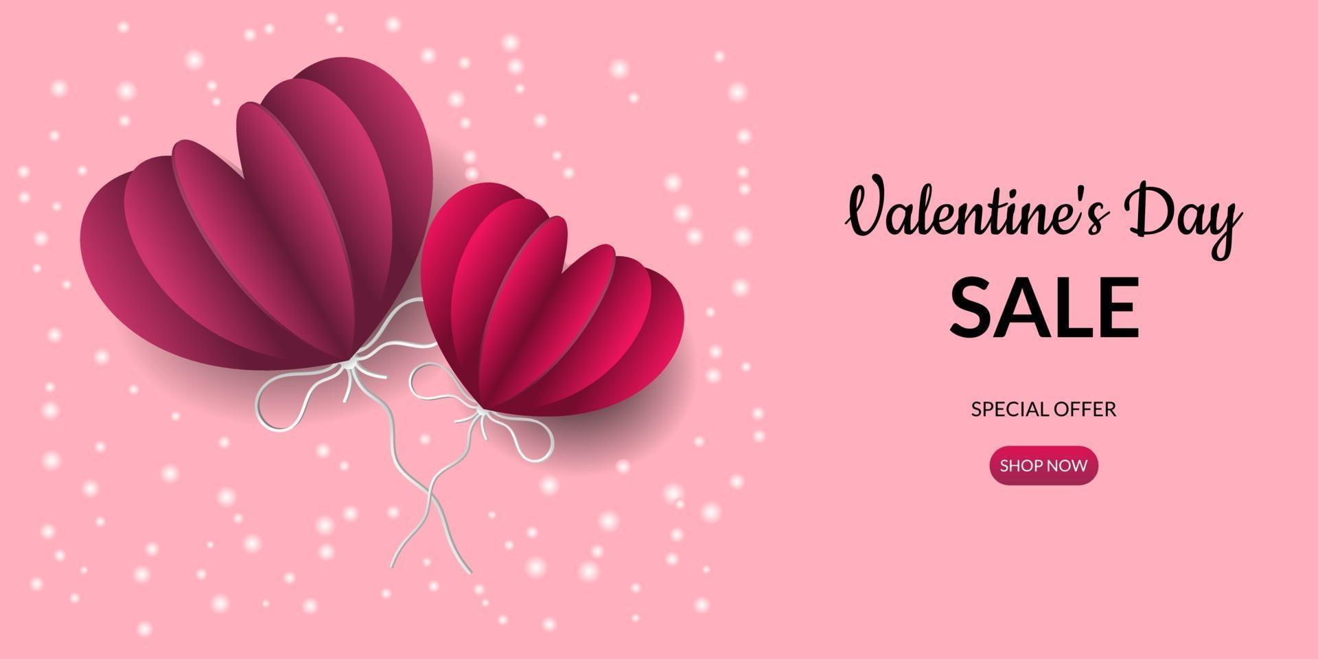 sfondo di vendita di san valentino con palloncini a forma di cuore vettore