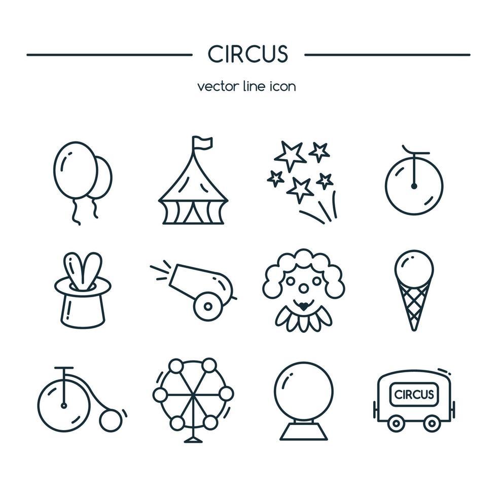 set di icone di circo. illustrazione vettoriale. vettore