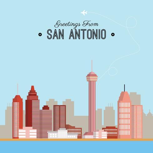Illustrazione di cartolina di San Antonio vettore