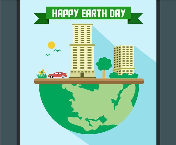 Vettore felice dell'illustrazione di giornata per la Terra