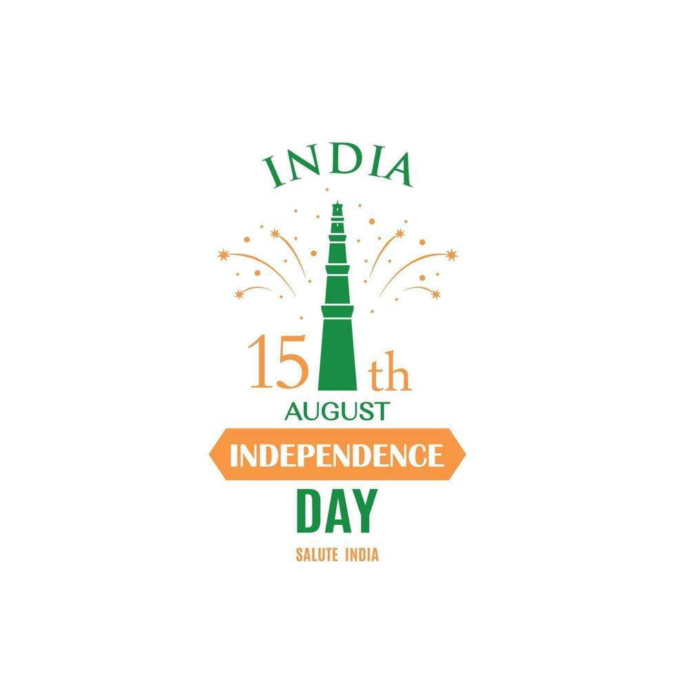biglietto di auguri per celebrare il giorno dell'indipendenza dell'india, 15 agosto. banner festivo indiano. vettore