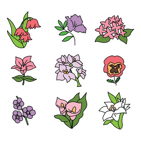 Set di fiori scarabocchiati vettore
