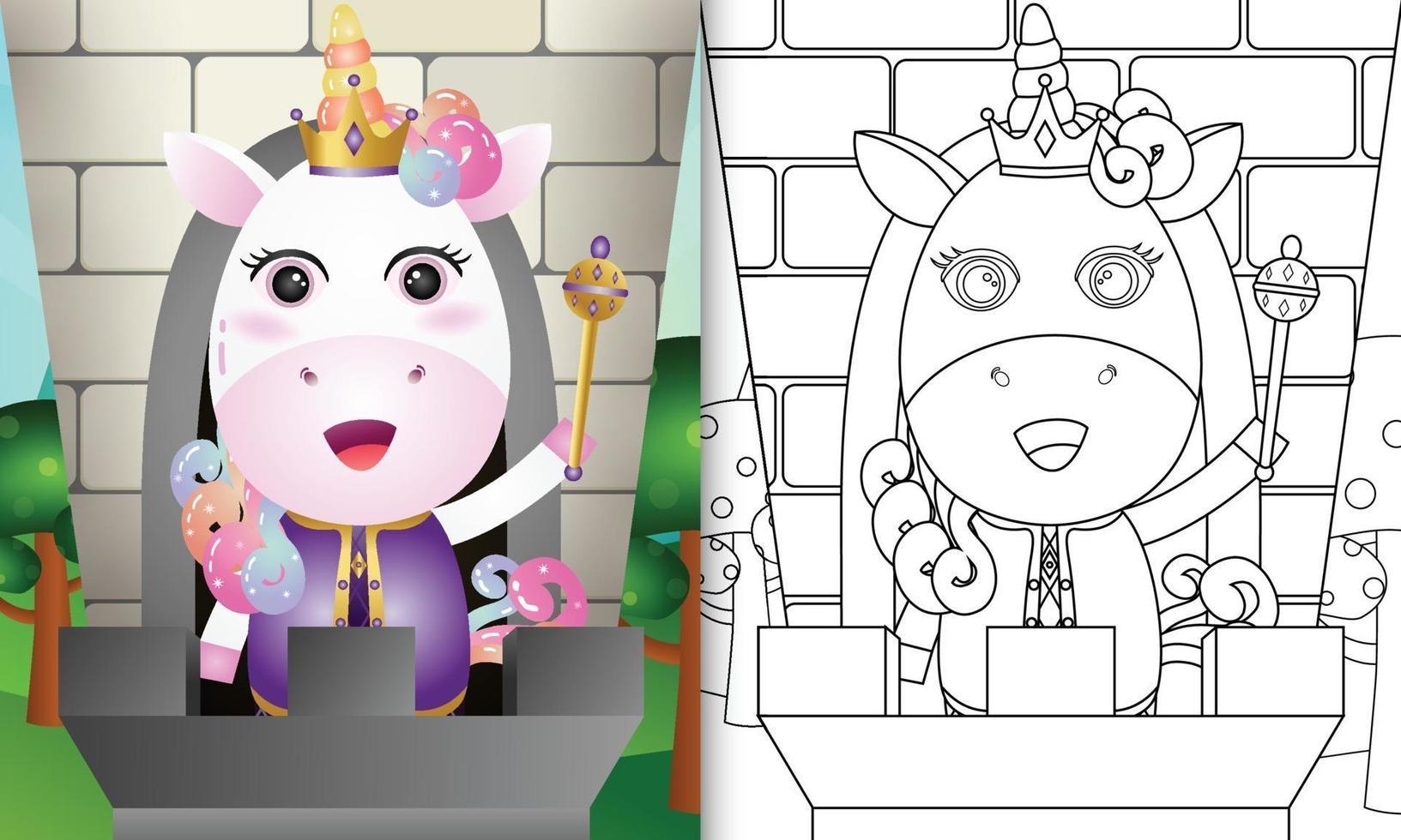 modello di libro da colorare per bambini con un simpatico personaggio di unicorno re vettore