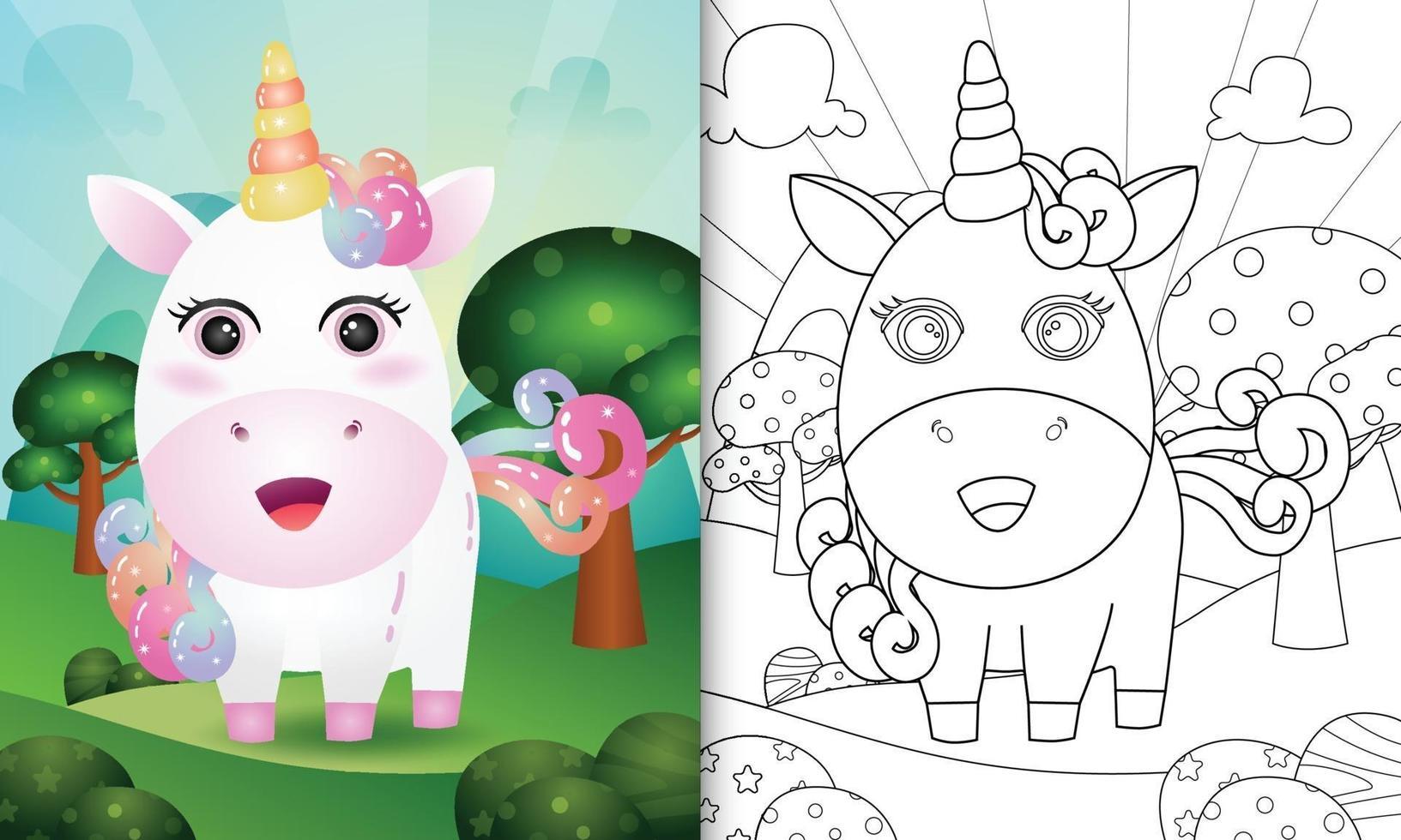 modello di libro da colorare per bambini con un simpatico personaggio di unicorno vettore