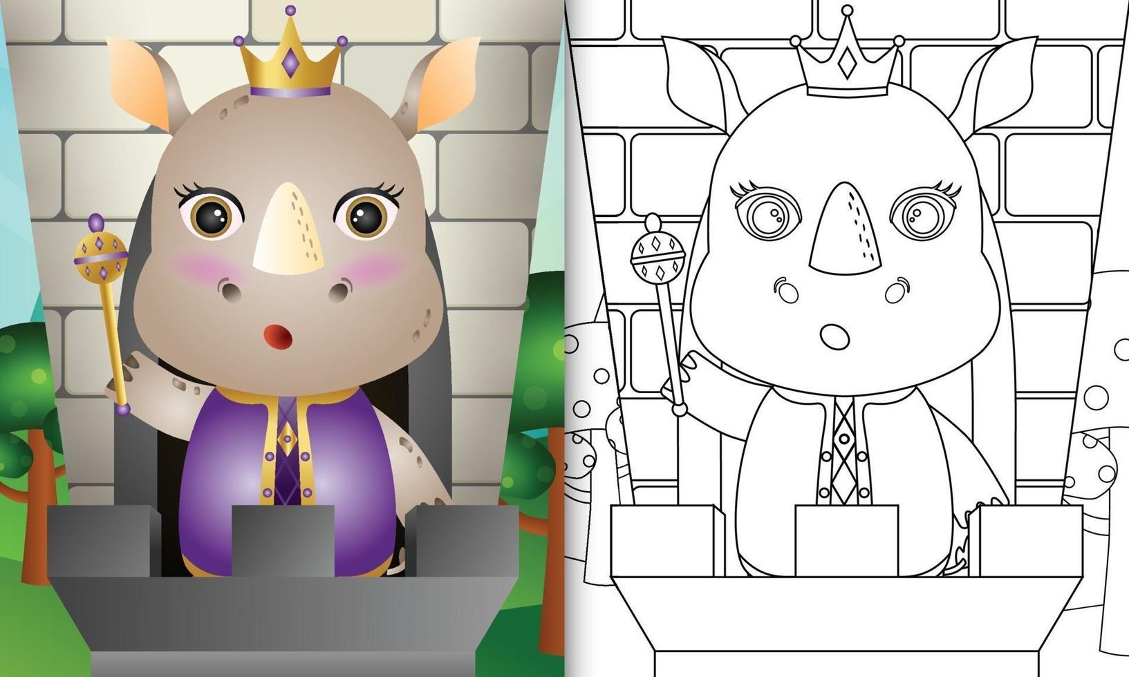 modello di libro da colorare per bambini con un simpatico personaggio di rinoceronte re vettore