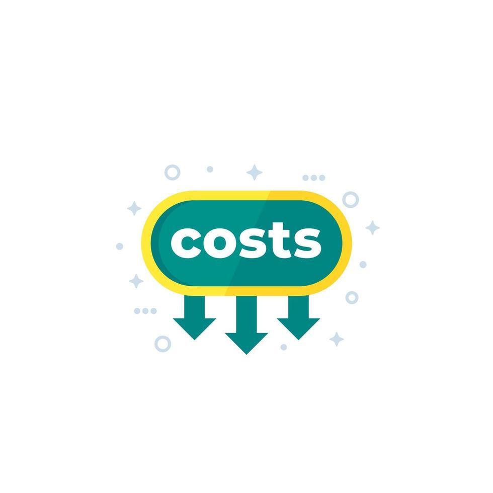 abbassare i costi, ridurre l'icona del vettore
