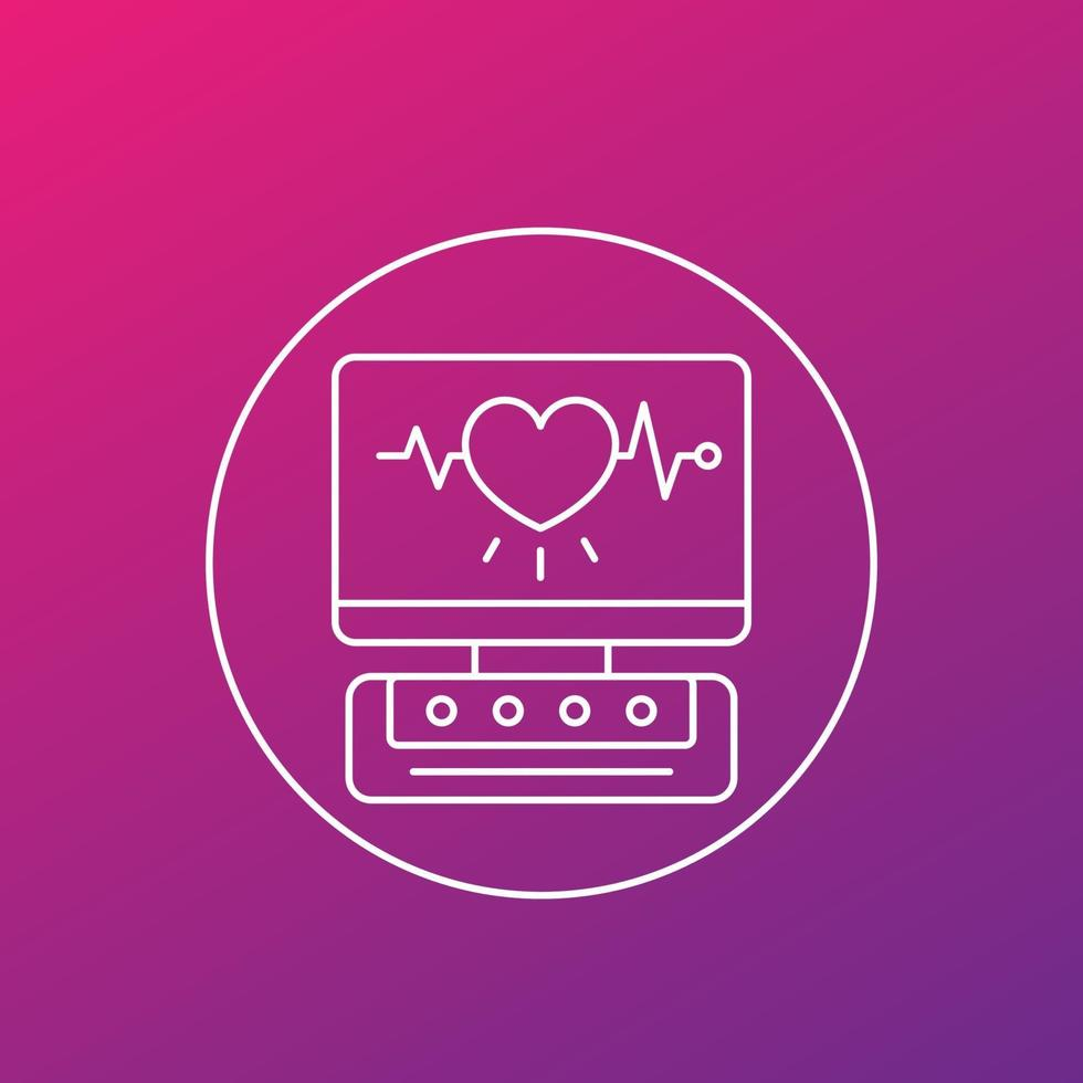 macchina ecg, icona di vettore di linea diagnostica cardiaca